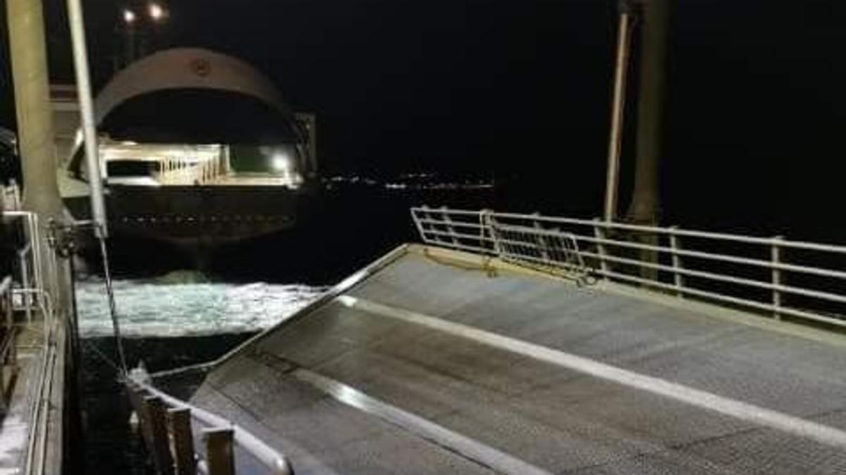 Fergekaia på Kjerringøy kollapset