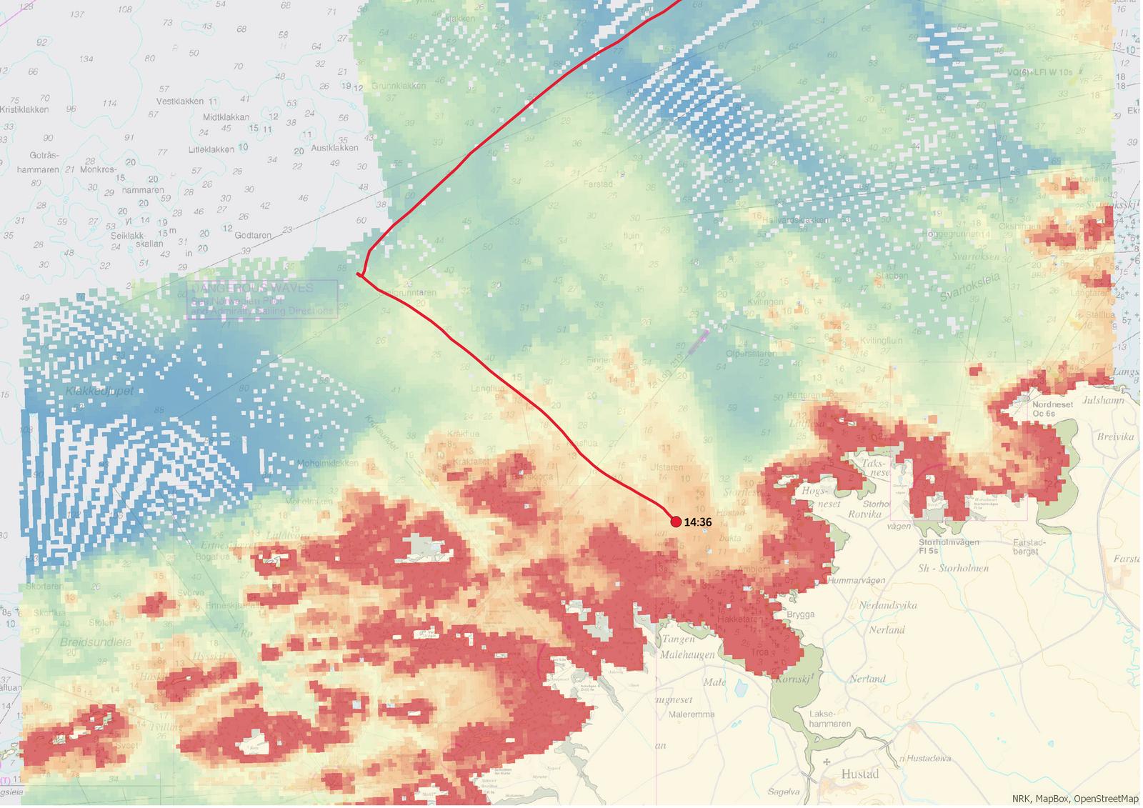 Kart som viser Viking Skys posisjon kl. 14.36 når de endelig får ankerfeste og stopper opp driften.