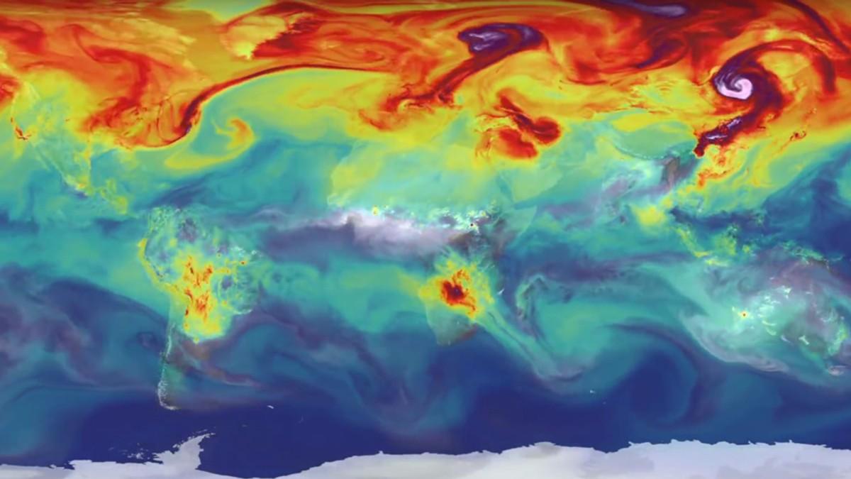 Innhold av CO2 i atmosfæren - Foto: NASA