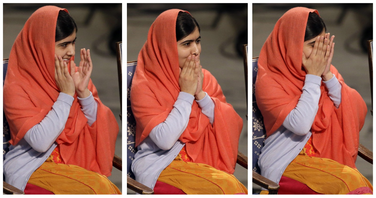 MANGE FØLELSER: In this combo of three images Nobel Peace Prize winner Malala Yousafzai from Pakistan, puts her hands to her face as she sits during the Nobel Peace Prize award ceremony in Oslo, Norway, Wednesday, Dec. 10, 2014. The Nobel Peace Prize is being shared between Malala Yousafzai, the 17-year-old Taliban attack survivor, and the youngest Nobel Prize winner ever, and Indian children's rights activist Kailash Satyarthi in a ceremony in Oslo on Wednesday. (AP Photo/Matt Dunham)