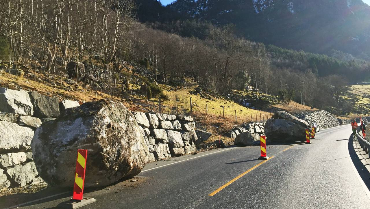 Ras på riksvei 13 ved Kilane/Vågane, Erfjord, Suldal