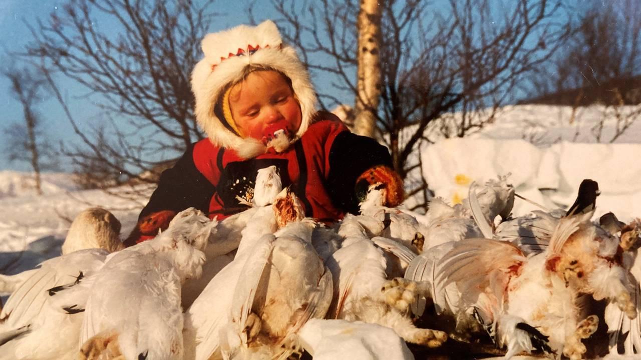 Isak Dreyer som barn. På jakt i indre Troms.