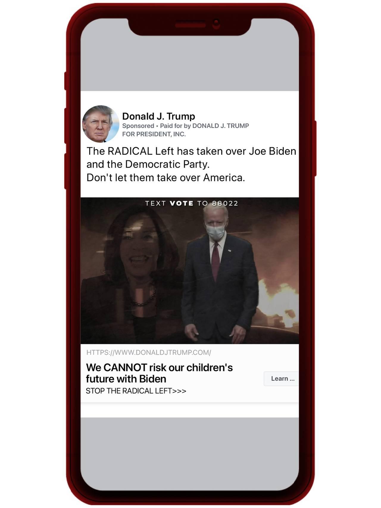 Grafikk av en mobil med Negativ reklame om Biden fra Trump